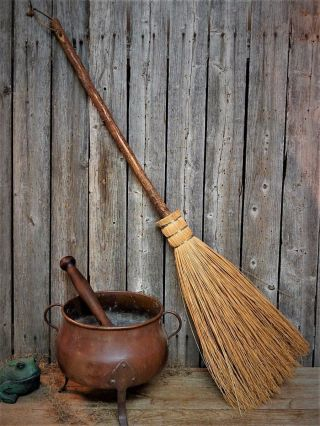 Old England Witch Hearth Broom - Primitive Wooden Tree Bark Handle photo