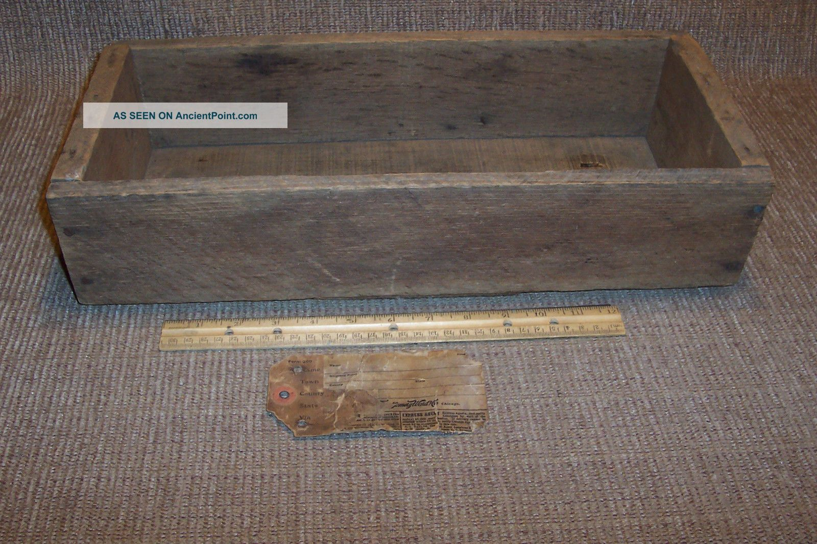 Old Montgomery Ward Wooden Box Primitive Antique Rough Sawn Wood Boxes photo