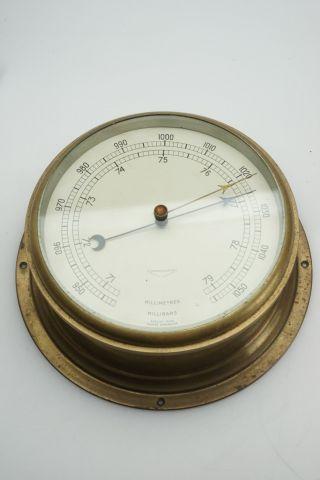 Vintage Antique Compensated English Marine Ships Barometer Brass Case 7.  5