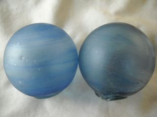 2 Authentic Beach Combed,  Japanese Frosty Swirled Glass Fishing Floats photo