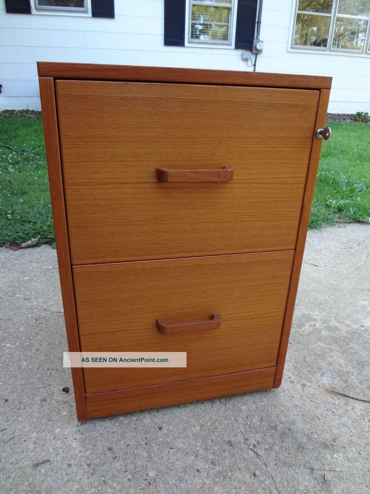 Vintage Jesper Danish Teak Finish 2 Drawer File Cabinet - Cond W/ Key Mcm Mid-Century Modernism photo