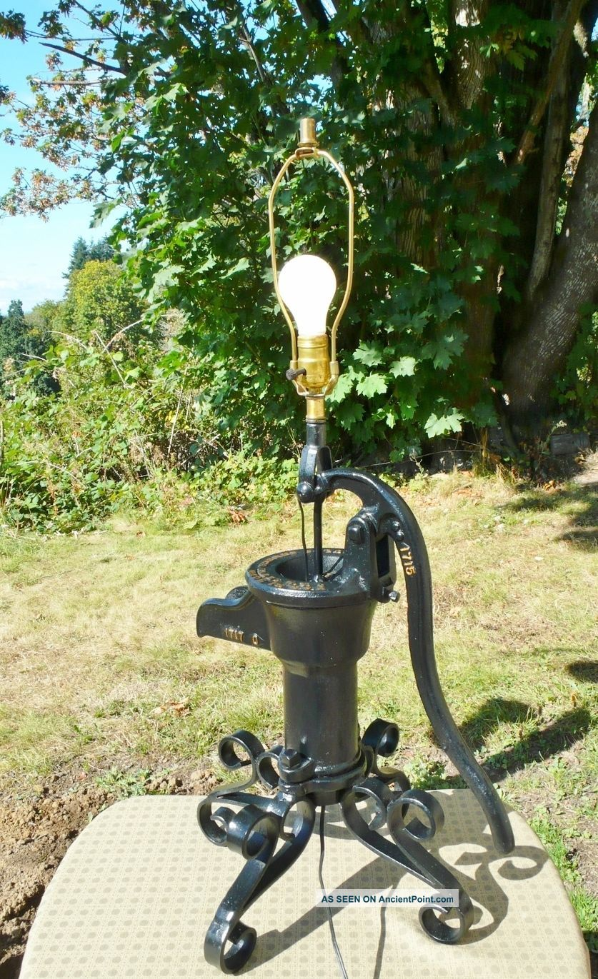 Vintage Pitcher Water Pump Table Lamp Unique Decor Goulds Seneca Usa 34 1/2