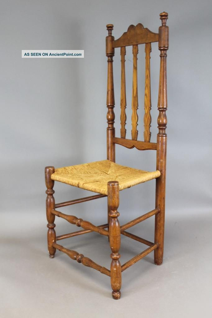 A Very Rare Early 18th C William & Mary Bannister Back Chair Great Carved Crest Primitives photo