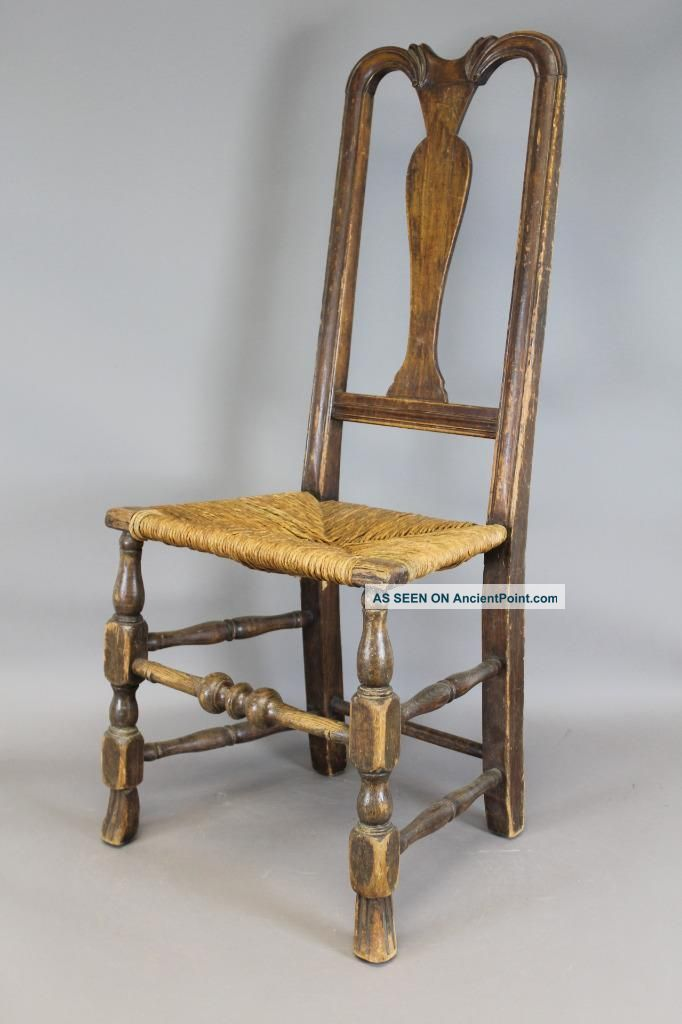 Rare 18th C Norwich,  Ct Qa Chair Bold Spanish Feet Carved Crest Old Attic Patina Primitives photo