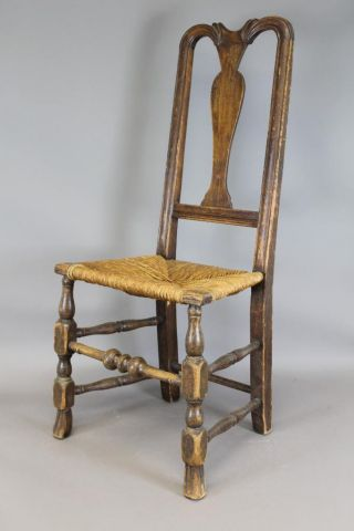 Rare 18th C Norwich,  Ct Qa Chair Bold Spanish Feet Carved Crest Old Attic Patina photo