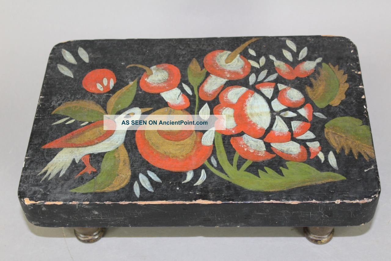 A Very Rare 19th C Pennsylvania German Folk Art Paint Decorated Foot Stool Primitives photo
