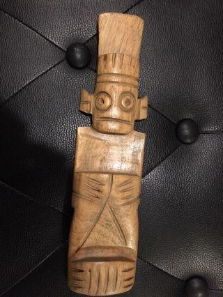 Taino Wooden Cemi Shaman Pre - Columbian Art Statuette Tnwmdshaman54 photo