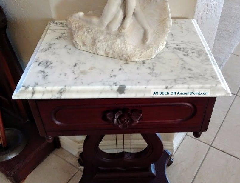 White Marble Top Hall/entry Table,  Mahogany Harp/lyre Form Base.  Perfect Cond. Unknown photo
