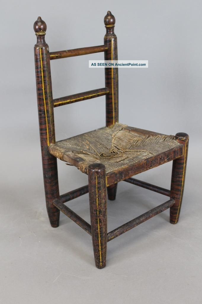 Fine 19th C Child ' S 2 Spindle Back Chair In Best Red & Black Paint Primitives photo