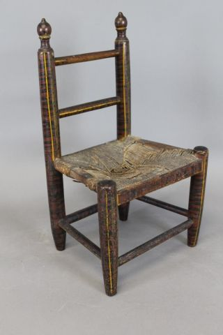 Fine 19th C Child ' S 2 Spindle Back Chair In Best Red & Black Paint photo