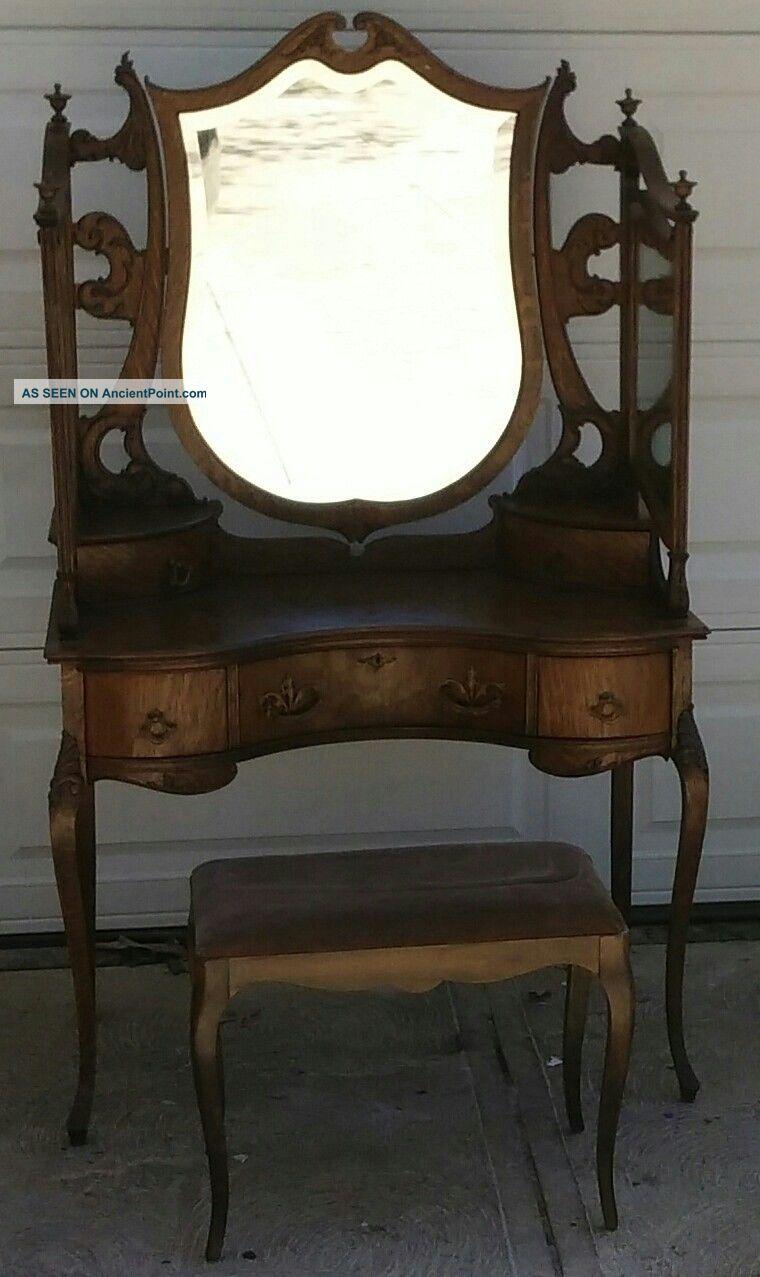 Antique Vanity Dressing Table Golden Quarter Sawn Oak Ornately Carved 1900-1950 photo