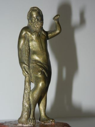 17th C Possibly Hellenistic Period Bronze Dionysus Wearing Leopard Skin Statue photo