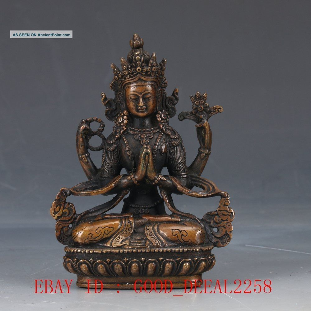 Chinese Copper Hand Carved Buddhist Statue Of Buddha Fx18 Figurines & Statues photo
