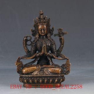 Chinese Copper Hand Carved Buddhist Statue Of Buddha Fx18 photo