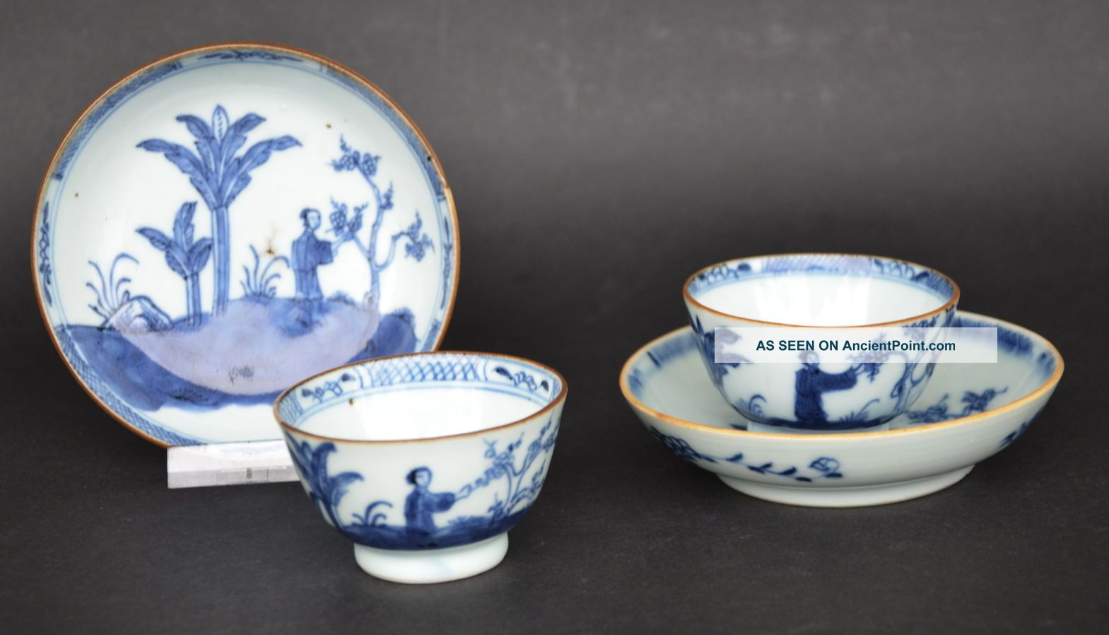 Chinese Blue & White Porcelain Cup And Saucers W.  Figures 18th Century C Glasses & Cups photo