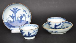 Chinese Blue & White Porcelain Cup And Saucers W.  Figures 18th Century C photo