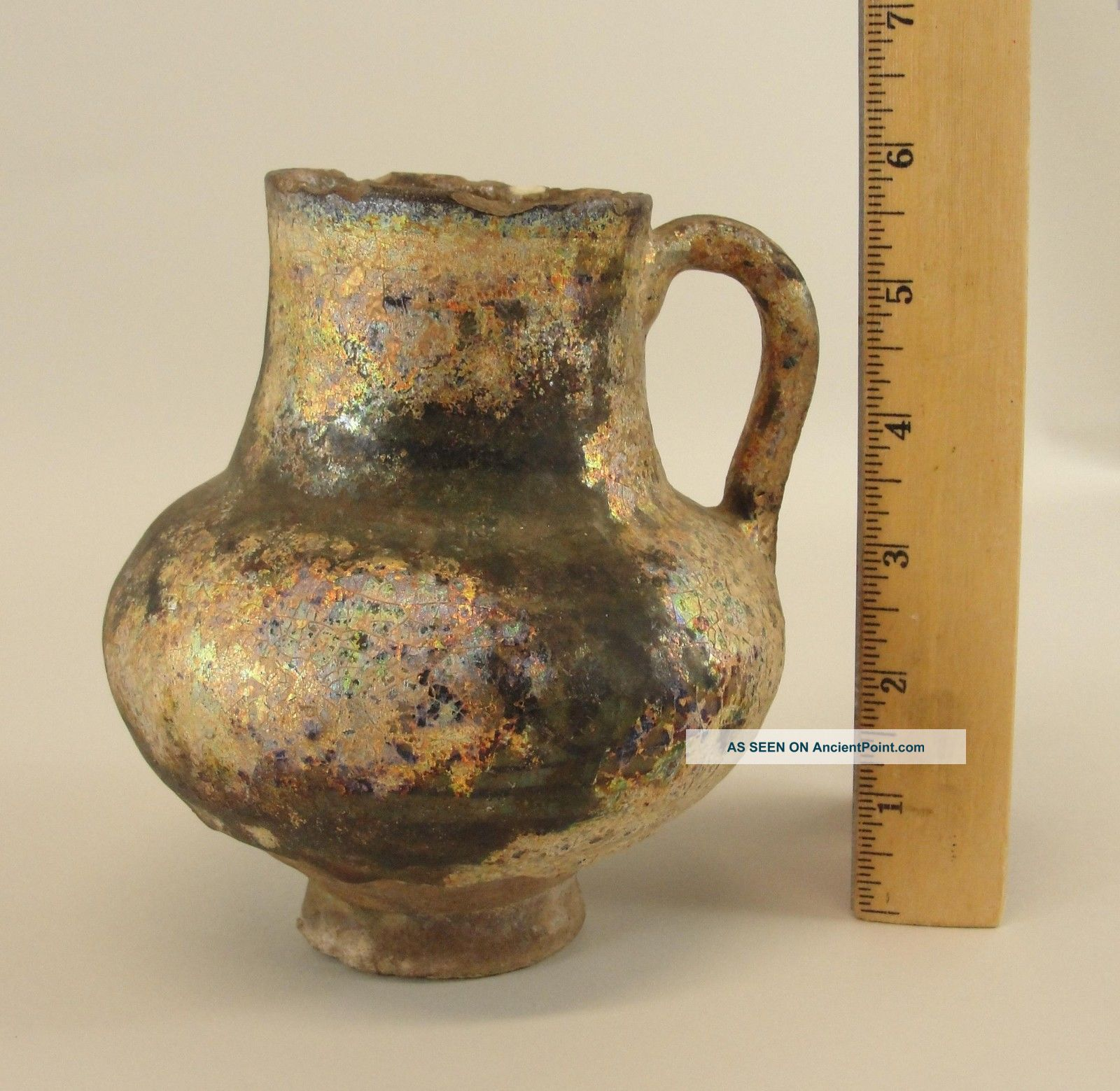 Authentic Ancient Islamic Persian Ceramic Jug Pitcher W/ Iridescent Surface Near Eastern photo