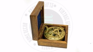 Vintage Maritime Antique Brass Sundial Compass Nautical Decor Postage photo
