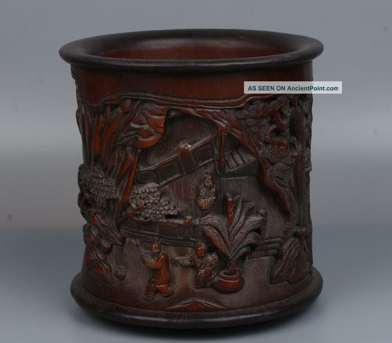 China Exquisite Hand - Carved Character Horse Carving Bamboo Pen Holder Brush Pots photo