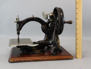 Antique 19thc Wilcox & Gibbs Sewing Machine Co Wooden Base,  No Rerserve photo
