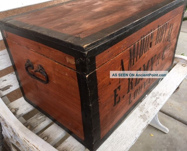 Large Antique Vintage Wooden French Amidon Royal E.  Remy Starch Trunk 1900-1950 photo