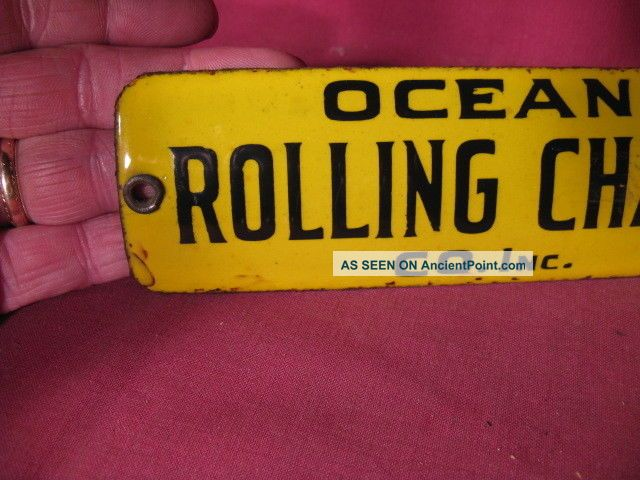 Scarce Antique Small Porcelain Sign Ocean Rolling Chair Company Other Maritime Antiques photo