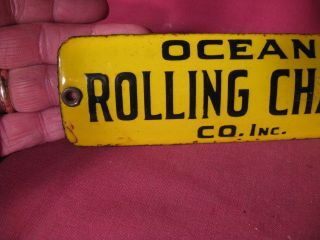 Scarce Antique Small Porcelain Sign Ocean Rolling Chair Company photo