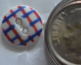Nbs Small Gingham Red Blue Two Hole Oval Eye China Button 7/16