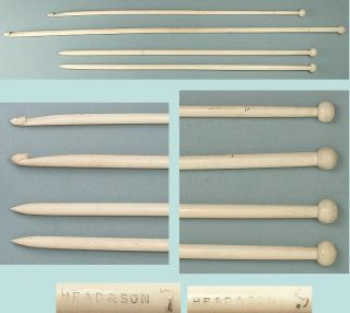Antique Bone Knitting Needles & 2 Afghan / Tunisian Crochet Hooks C1890 - 1900s photo