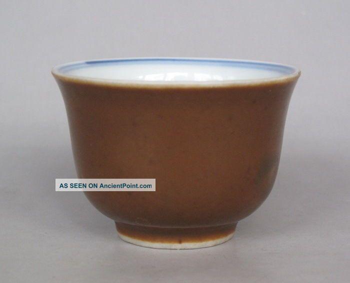 Chinese Brown Glaze Blue White Porcelain Teacup W Landscape Glasses & Cups photo