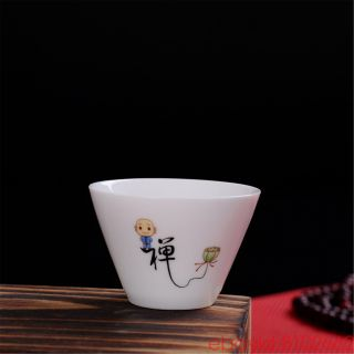 Jingdezhen Small Monk 禅 Blue And White Porcelain Teacup Kung Fu Tea Cup Ceramic photo