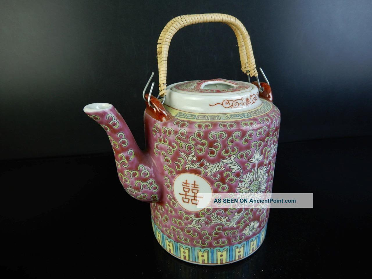H2714: Chinese Colored Porcelain Flower Arabesque Pattern Teapot Kyusu Sencha Teapots photo