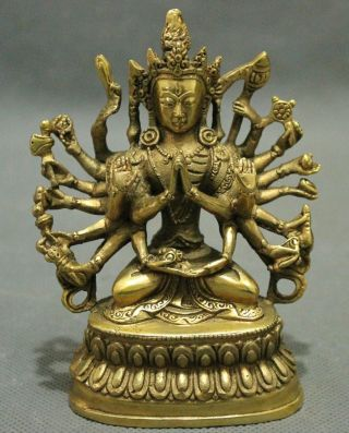 4.  25 Inch / Tibetan Buddhism Copper Buddha Avalokiteshvara Exorcism photo