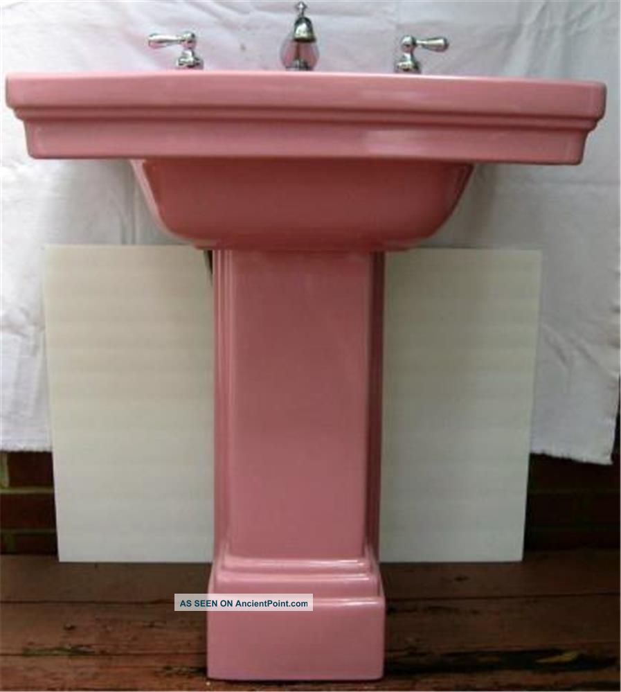 1931 Art Deco Standard Pink Pedestal Sink 2 Pc Faucet Handles Sinks photo