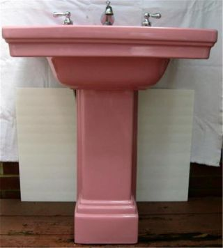 1931 Art Deco Standard Pink Pedestal Sink 2 Pc Faucet Handles photo