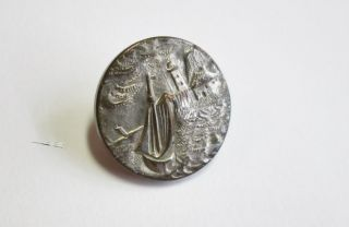 Small Silver Metal Paris Button Sailing Boat & Ligthhouse A P & Cie photo