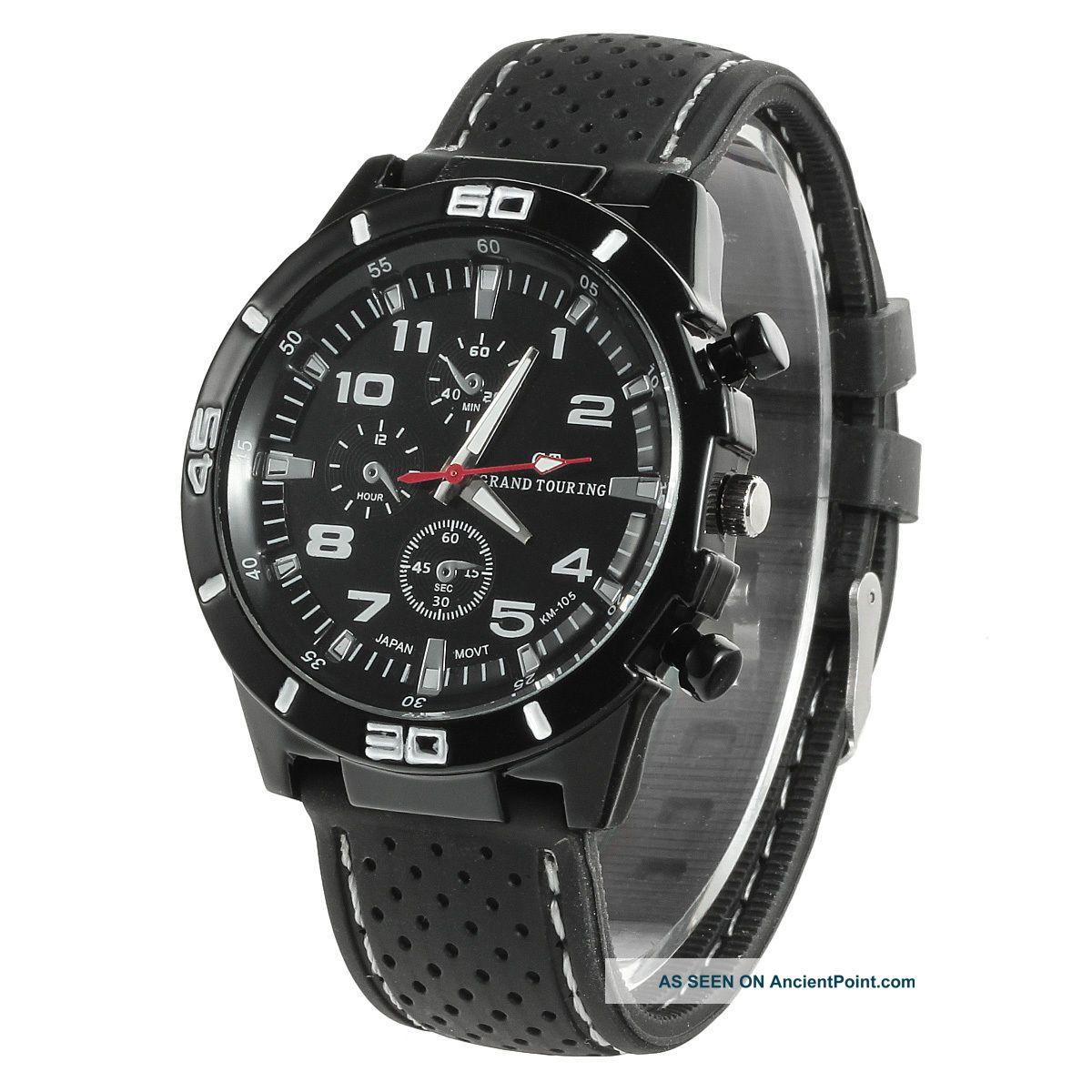 Men ' S Fashion Silicone Rubber Band Sport Analog Quartz Wrist Watch - Black White See more Men's Fashion Silicone Rubber Band Sport Analo... photo