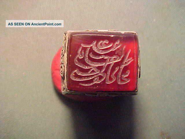 Near Eastern Hand Crafted Intaglio Ring Carnelian (script) 1700 - 1900 Near Eastern photo
