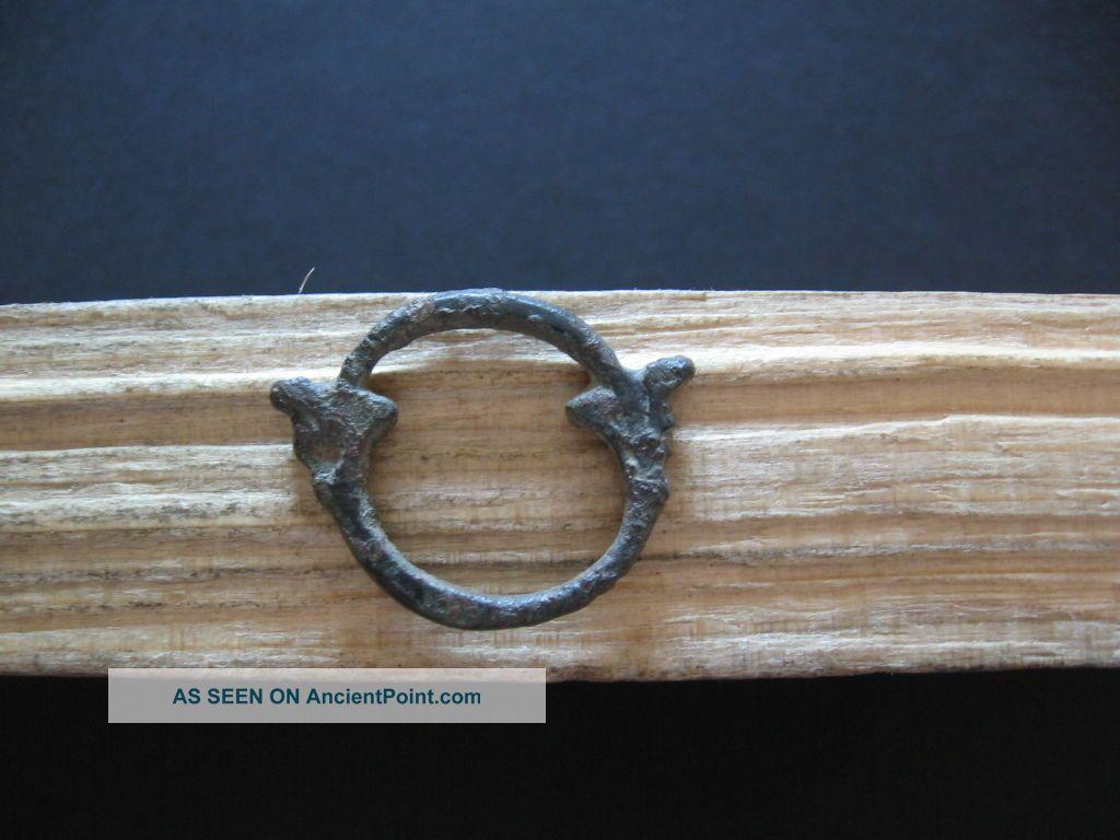 Double Dragon Heads Ring Amulet Ancient Celtic Bronze Talisman 500 - 300 B.  C. Celtic photo