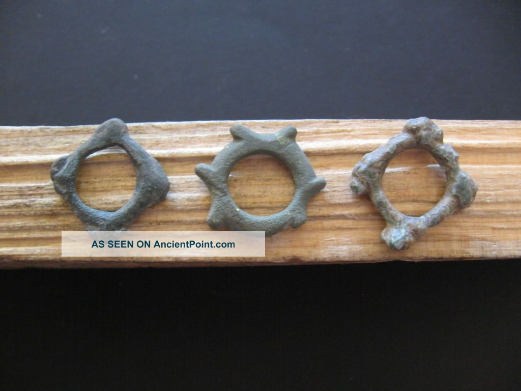 3 Quadrilateral Sun Form Ancient Celtic Bronze Proto Money 700 - 500 B.  C.  Unique Celtic photo