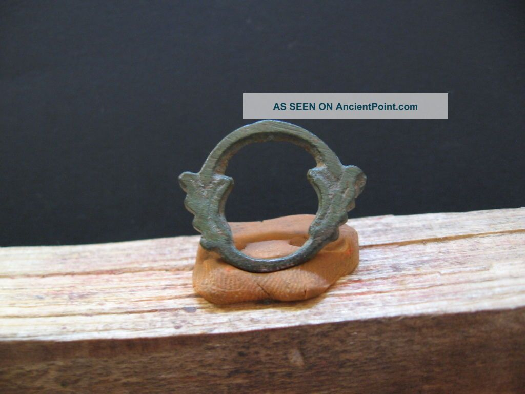Double Dragon Heads Ring Amulet Ancient Celtic Bronze Talisman 500 - 300 Bc 3,  2 Gr Celtic photo