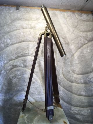 Large Vintage Brass Telescope W Wooden Brass Folding Tripod W Safety Chain 50
