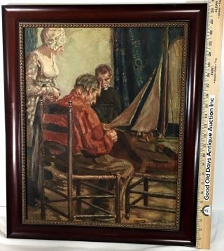 Vintage Oil Painting Of Victorian Family Father Building Ship Model. photo