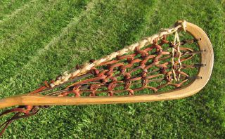 Vintage Mohawk Indian Lacrosse Stick Wood Handle Pro Select 80 photo