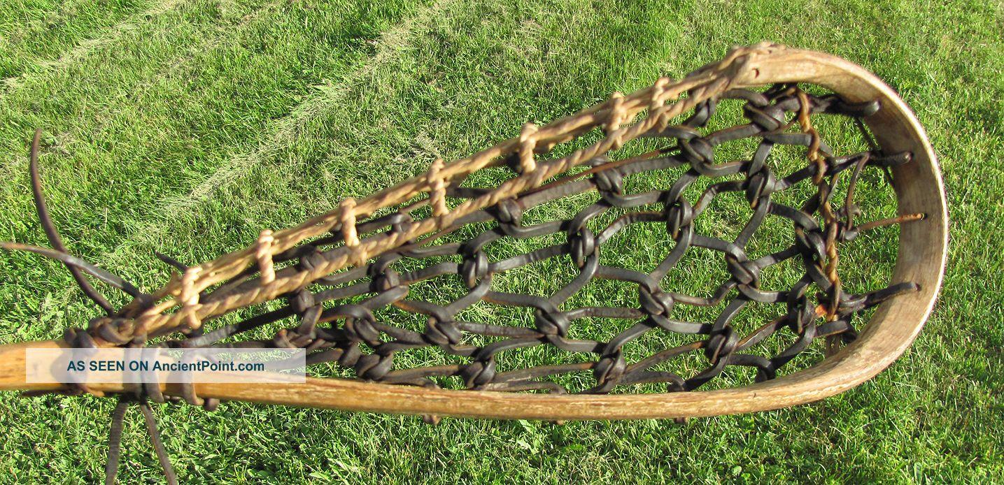 Antique Mohawk Indian Made Lacrosse Stick Lacrosse Raquet Rare Native American photo