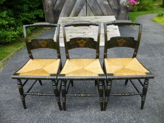 (3) Hitchcock Signed Stenciled Rush Bottom Farm Side Chairs photo