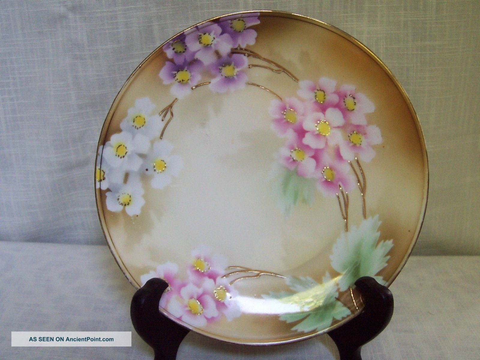 Rs Germany Pink White Purple Floral Porcelain Plate Hand Painted Plates & Chargers photo