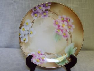 Rs Germany Pink White Purple Floral Porcelain Plate Hand Painted photo