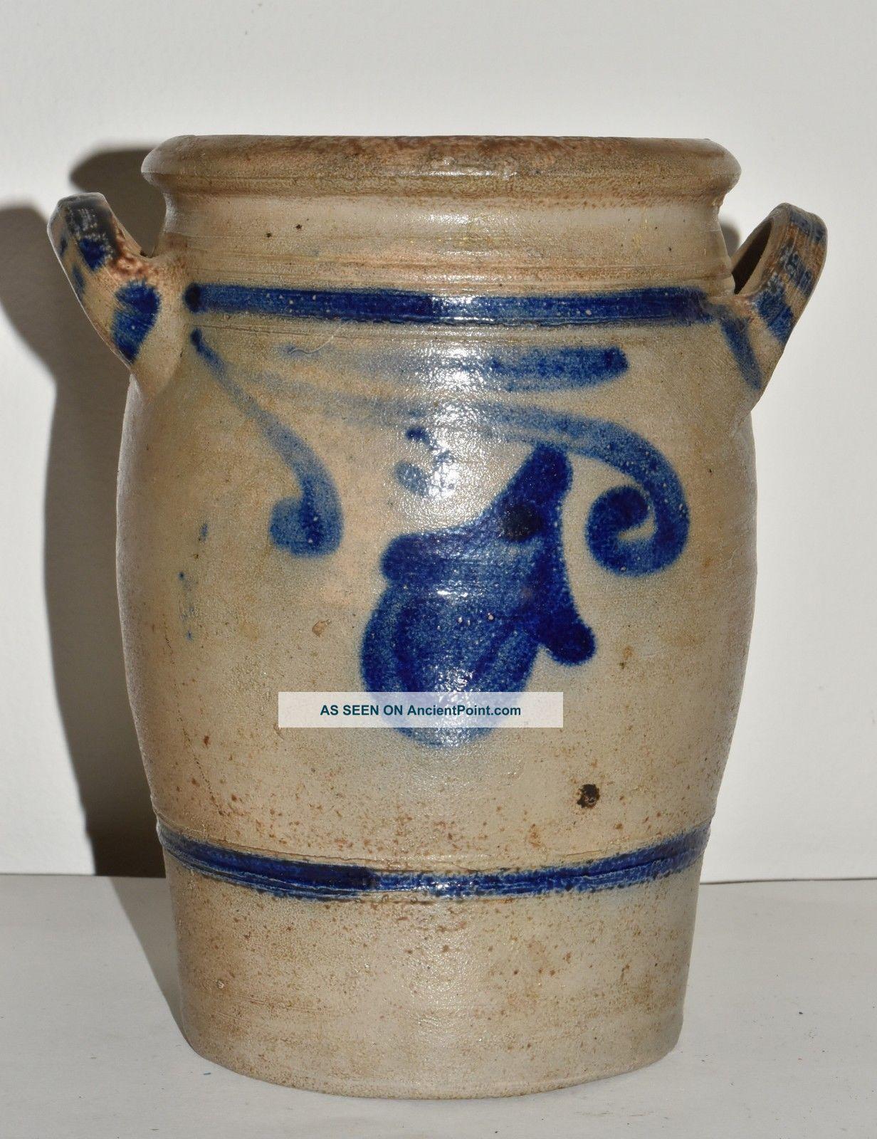 Vtg Small German 3 Pints Stoneware Crock Salt Glaze Blue Decorated 2 Crocks photo