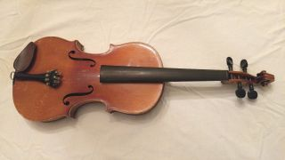 Antique German Violin 4/4 Full Size With Bausch Bows Repair Project Strad Copy photo